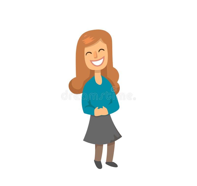 Carácter de risa divertido de la muchacha con el pelo largo del jengibre Colegiala con sonrisa en su cara Ejemplo plano del vecto ilustración del vector