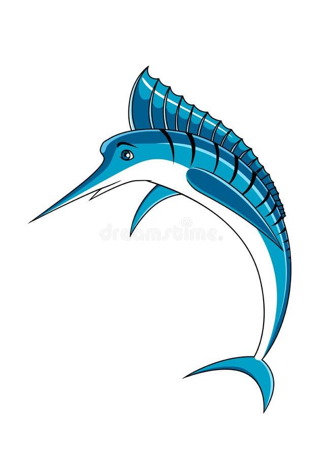 Carácter de salto de los pescados de la aguja azul libre illustration