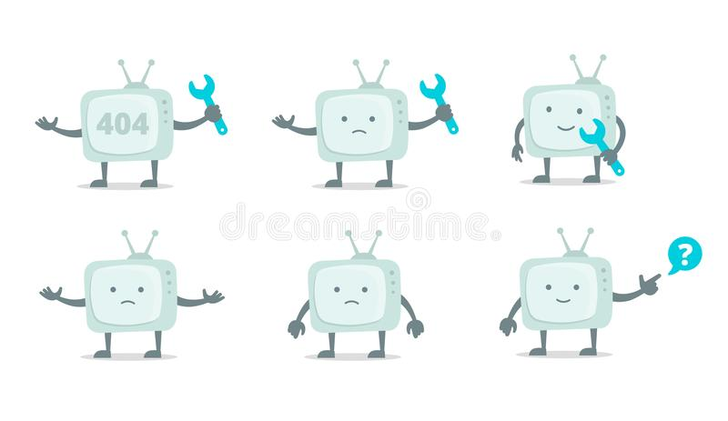 Carácter de Televisor con la cara, las piernas y las manos Repare el sistema La fijación de la televisión de la televisión con la ilustración del vector