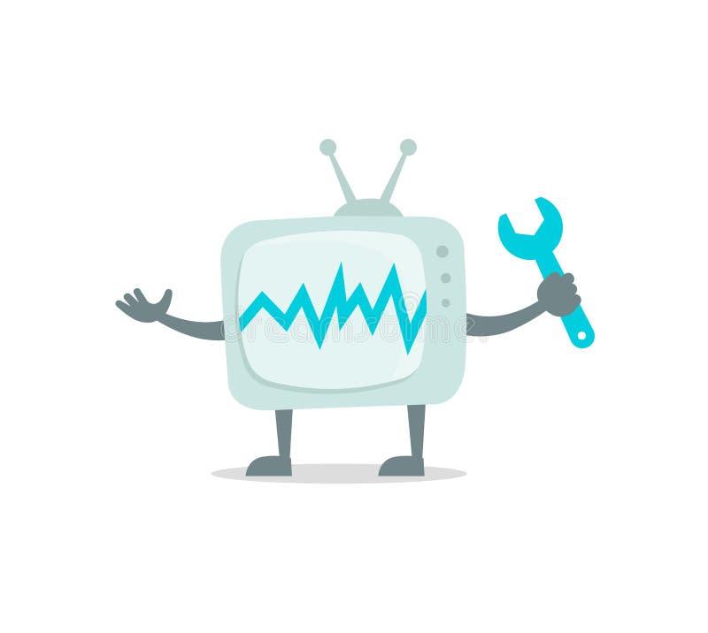 Carácter de Televisor con la cara, las piernas y las manos Repare el sistema La fijación de la TV con la llave fijó el juego de c stock de ilustración