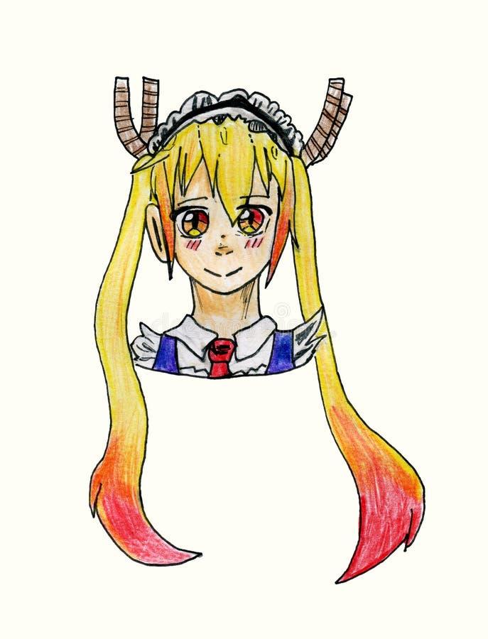 Carácter de Tohru de la serie del manga del ` s Dragon Maid Japanese de Srta. Kobayashi, ilustración del vector