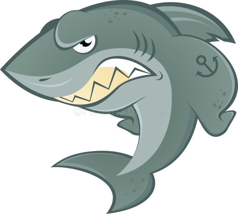 Carácter de Toon del tiburón stock de ilustración