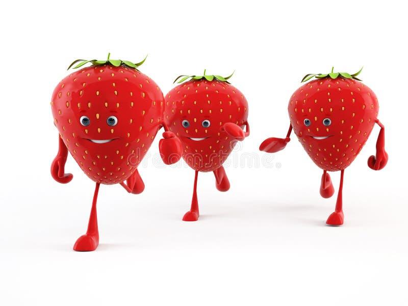 Carácter del alimento - fresa stock de ilustración