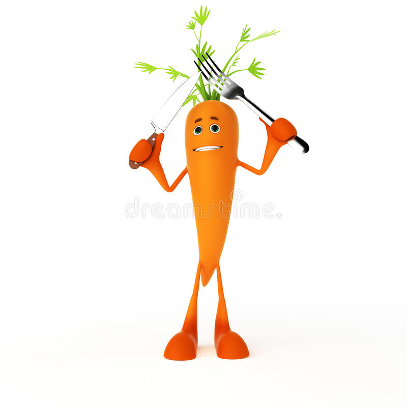 Carácter del alimento - zanahoria stock de ilustración