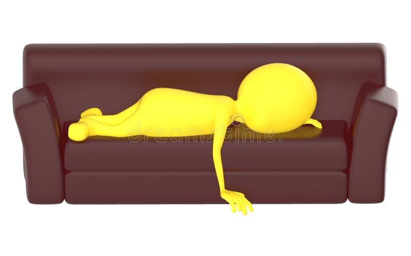 carácter del amarillo 3d que miente en el sofá ilustración del vector