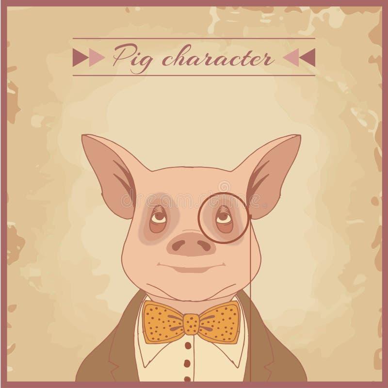 carácter del animal del cerdo stock de ilustración