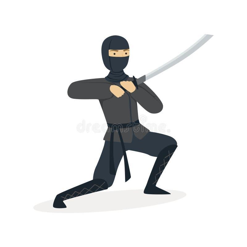 Carácter del asesino de Ninja en un traje negro lleno que lucha con la espada del katana, ejemplo japonés del vector del arte mar libre illustration