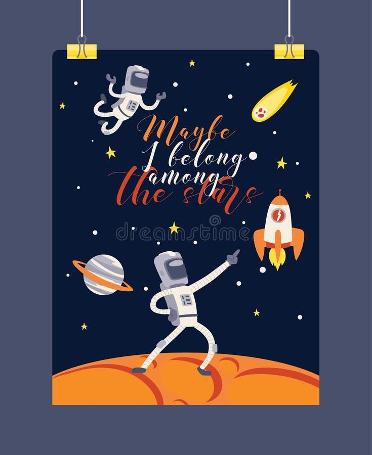 Carácter del astronauta del cosmonauta del vector del astronauta en galaxia del universo del contexto de la astronomía del cosmos ilustración del vector
