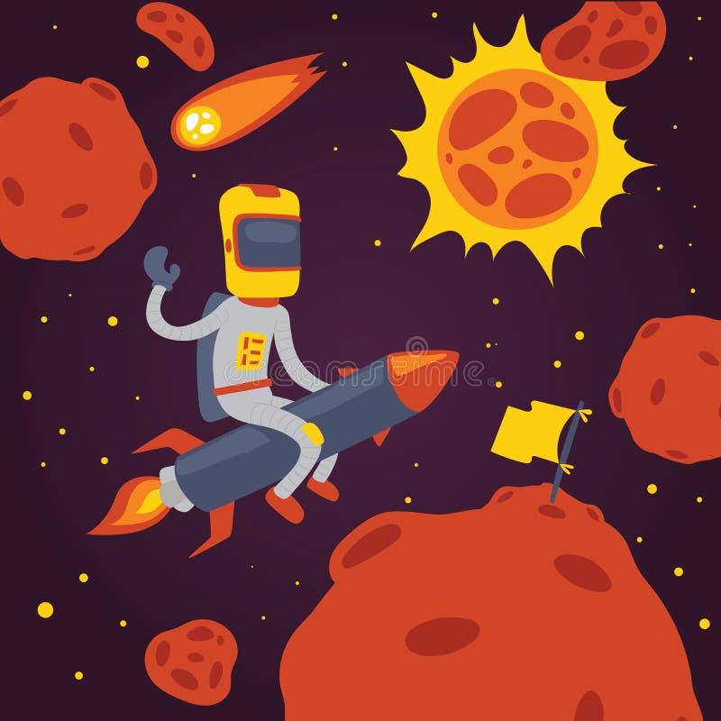 Carácter del astronauta de la historieta del cosmonauta del vector del astronauta en el vuelo del casco en el cohete en universo  stock de ilustración