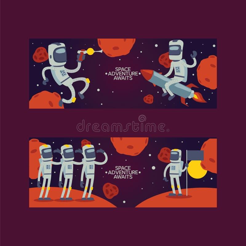 Carácter del astronauta de la historieta del cosmonauta del vector del astronauta en hombre de la aventura de la galaxia del univ libre illustration