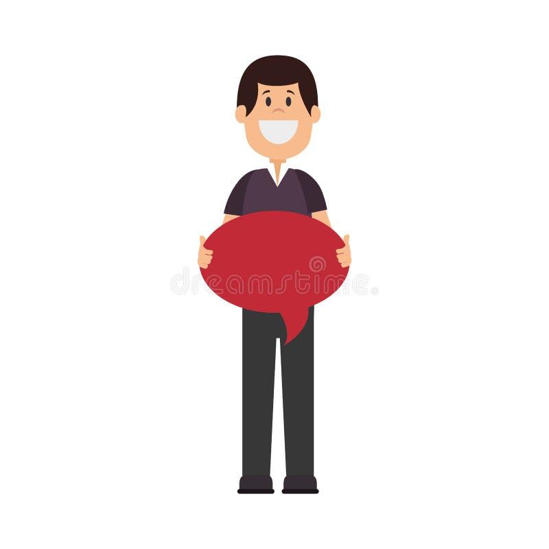carácter del avatar del hombre con la burbuja del discurso libre illustration