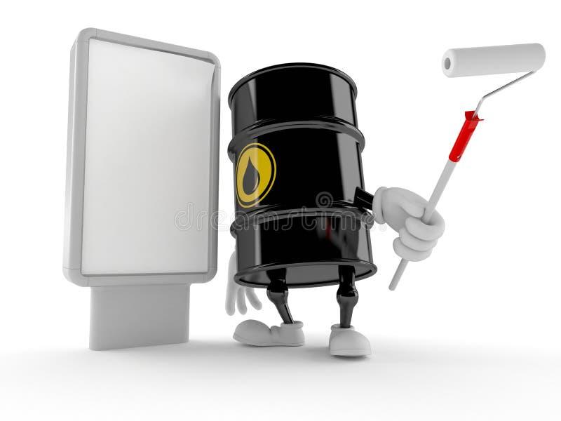 Carácter del barril de aceite con la cartelera en blanco ilustración del vector