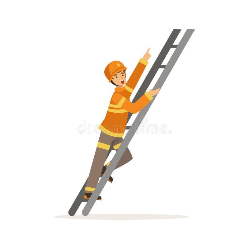 Carácter del bombero en el casco uniforme y protector que sube una escalera, bombero en el ejemplo del vector del trabajo stock de ilustración