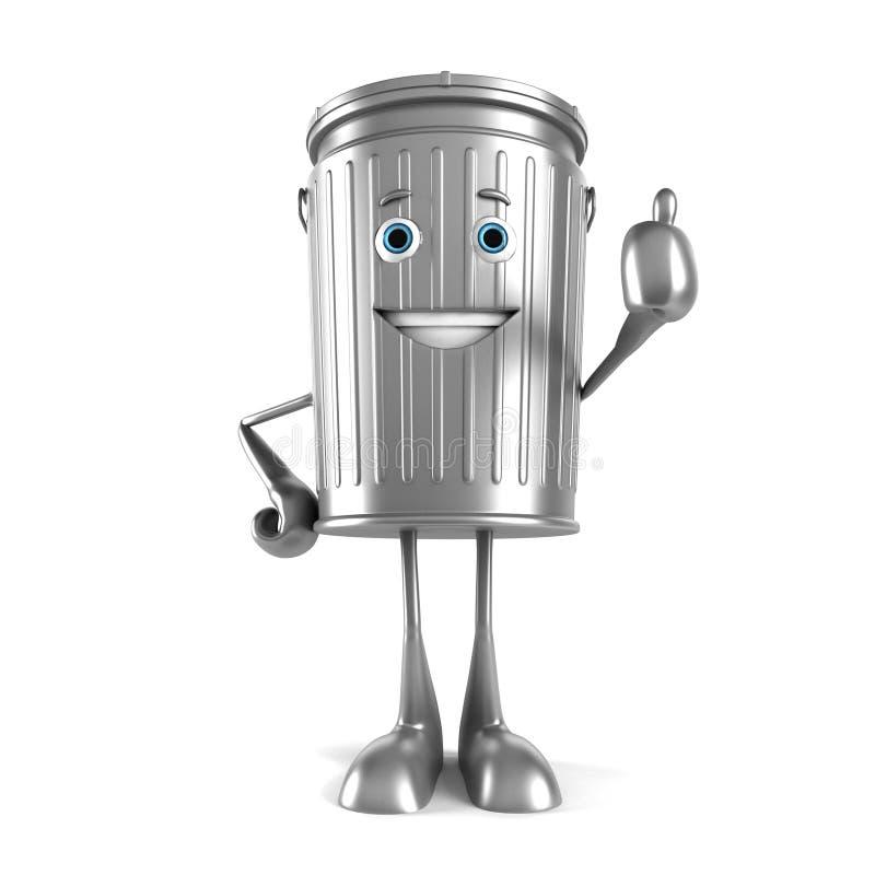 Carácter del bote de basura stock de ilustración