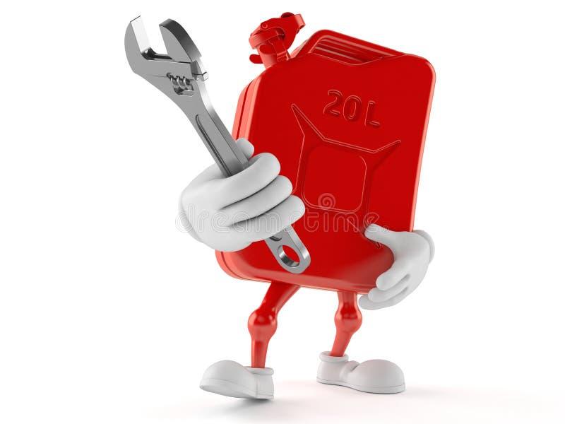 Carácter del bote de la gasolina que sostiene la llave ajustable libre illustration