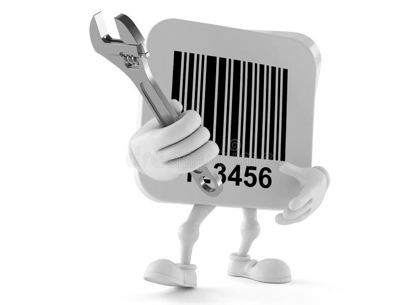 Carácter del código de barras con la llave ajustable stock de ilustración