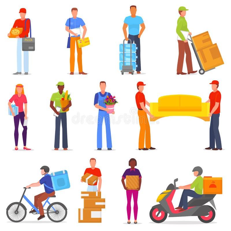 Carácter del cartero del vector del mensajero del servicio de entrega que entrega el sistema del ejemplo de la caja o del paquete libre illustration