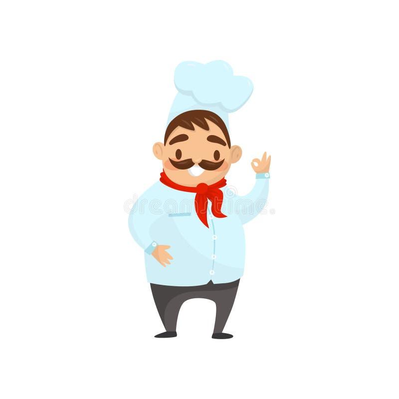 Carácter del cocinero de la historieta que muestra gesto aceptable Hombre sonriente con el bigote en uniforme Elemento plano del  libre illustration