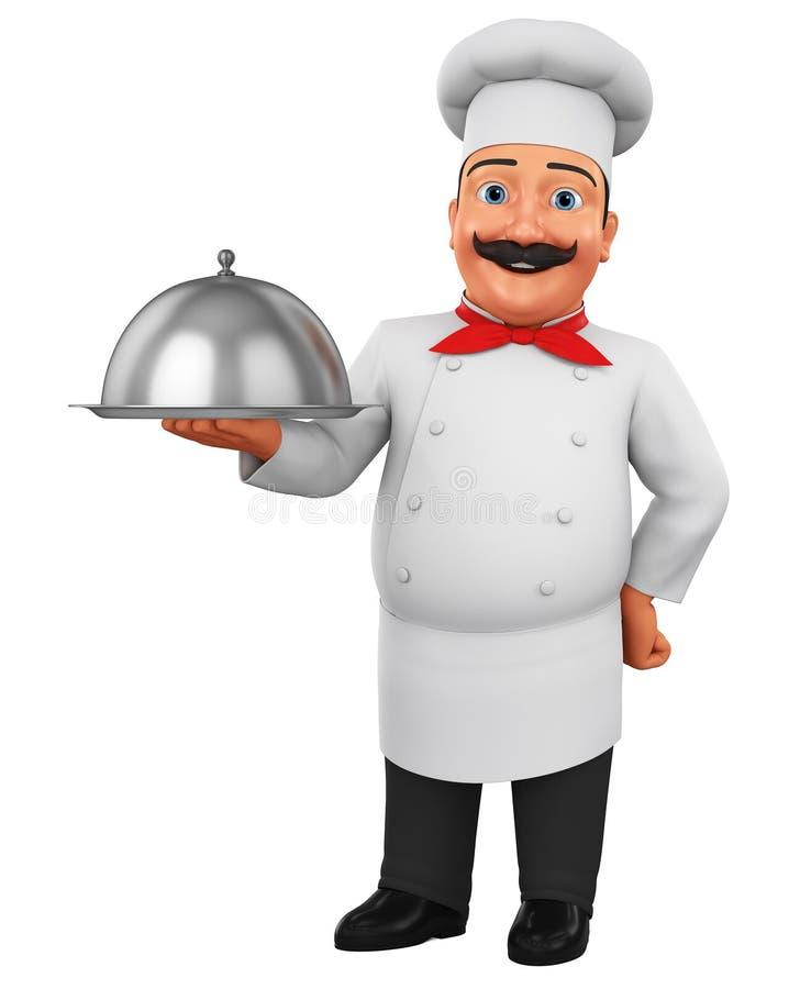 Carácter del cocinero de la historieta que sostiene un plato en un fondo blanco representaci?n 3d Ilustraci?n para hacer publicid stock de ilustración
