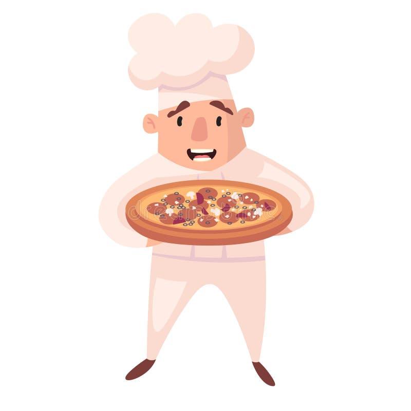 Carácter del cocinero Mascotas de la historieta en diversas actitudes din?micas cocinero en el sombrero blanco, ejemplo del vecto libre illustration