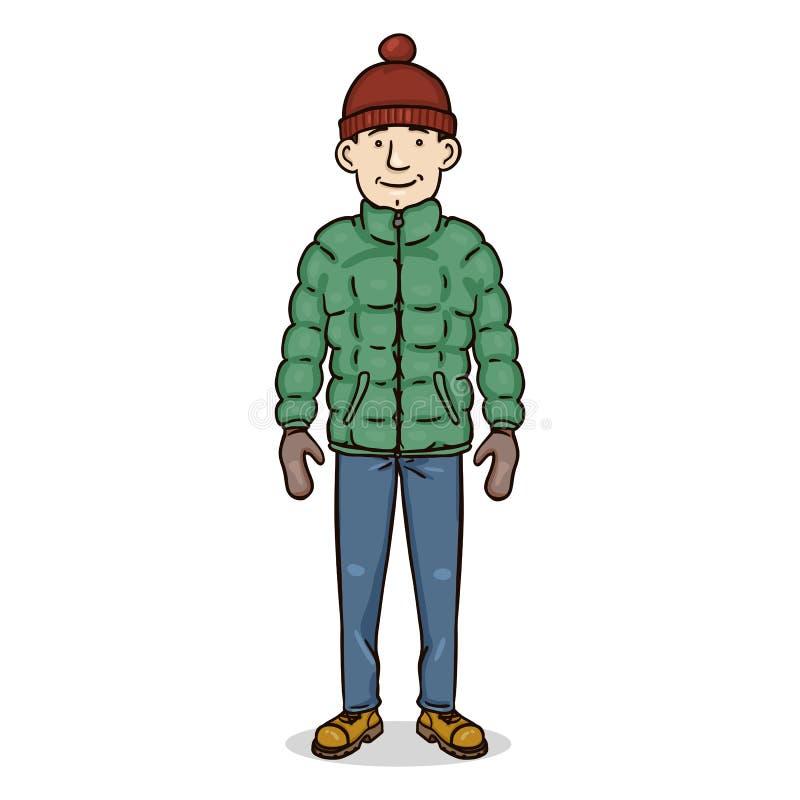Carácter del color de la historieta del vector - hombre joven en equipo del invierno stock de ilustración