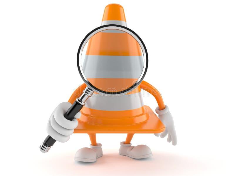 Carácter del cono del tráfico que mira a través de la lupa ilustración del vector