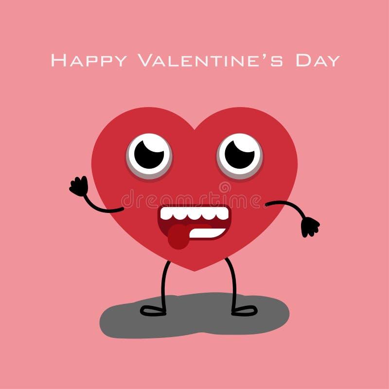 Carácter del corazón con color rojo en el fondo rosado para el día de tarjeta del día de San Valentín ilustración del vector
