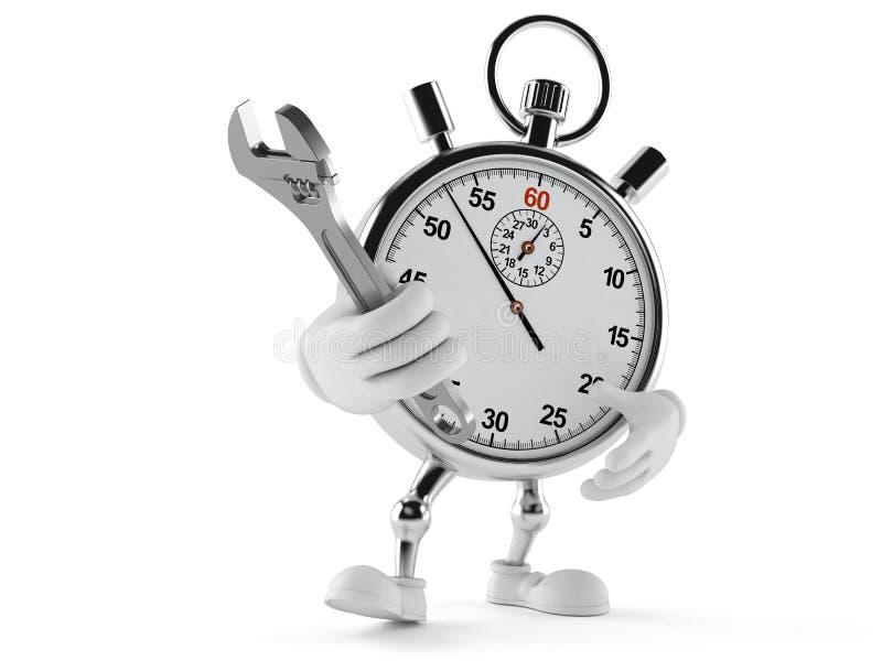 Carácter del cronómetro que sostiene la llave ajustable libre illustration