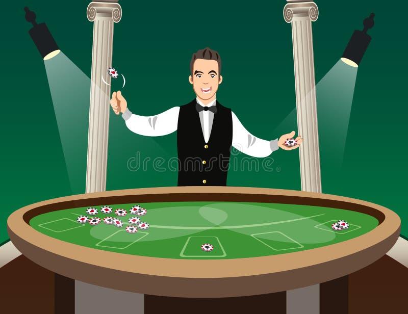 Carácter del crupié del casino del hombre stock de ilustración