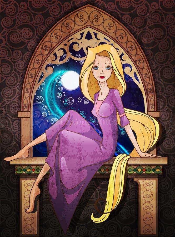 Carácter del cuento de hadas de Rapunzel que se sienta delante de la ventana ilustración del vector
