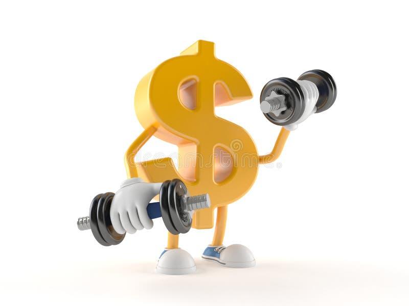 Carácter del dólar con pesa de gimnasia stock de ilustración