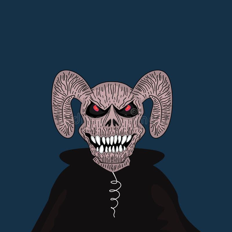 Carácter del demonio de Halloween del vector Monstruo satánico del cráneo con los cuernos y el ejemplo del colmillo stock de ilustración