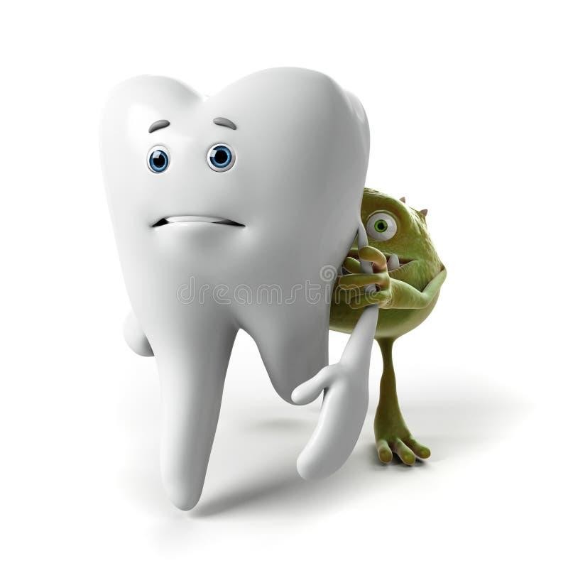Carácter del diente y de las bacterias stock de ilustración