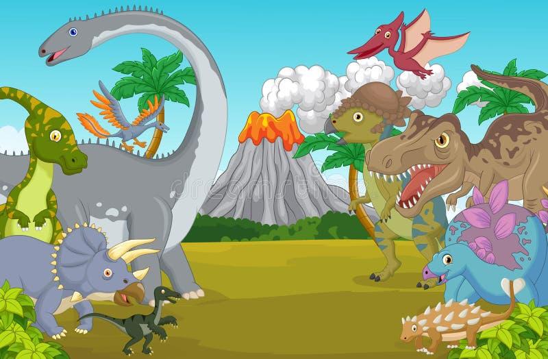 Carácter del dinosaurio de la historieta con el volcán stock de ilustración