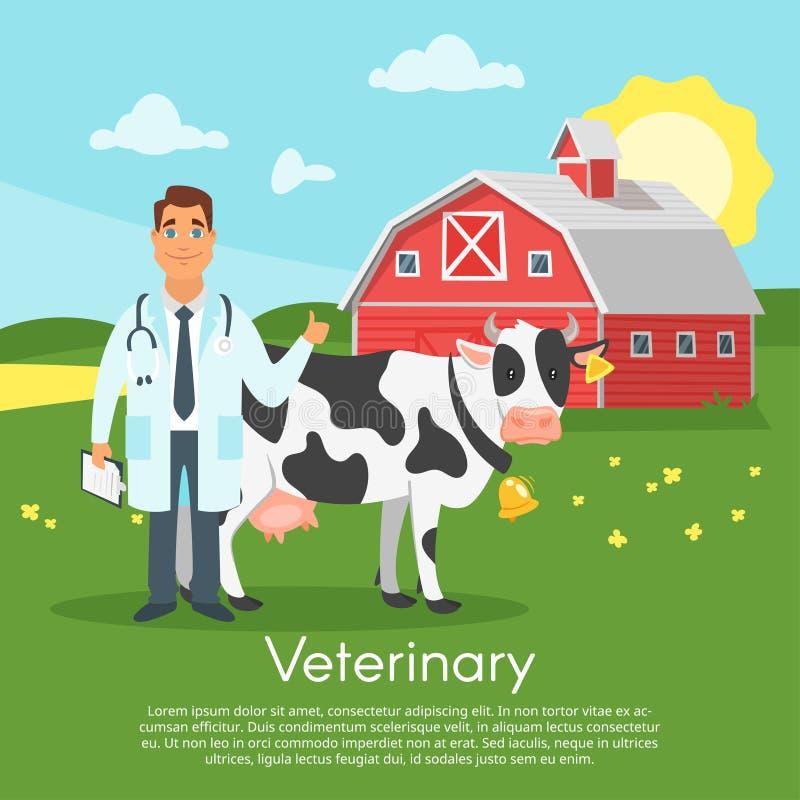 Carácter del doctor con la vaca ilustración del vector