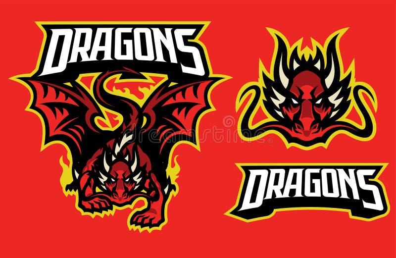 Carácter del dragón en estilo de la mascota del deporte ilustración del vector