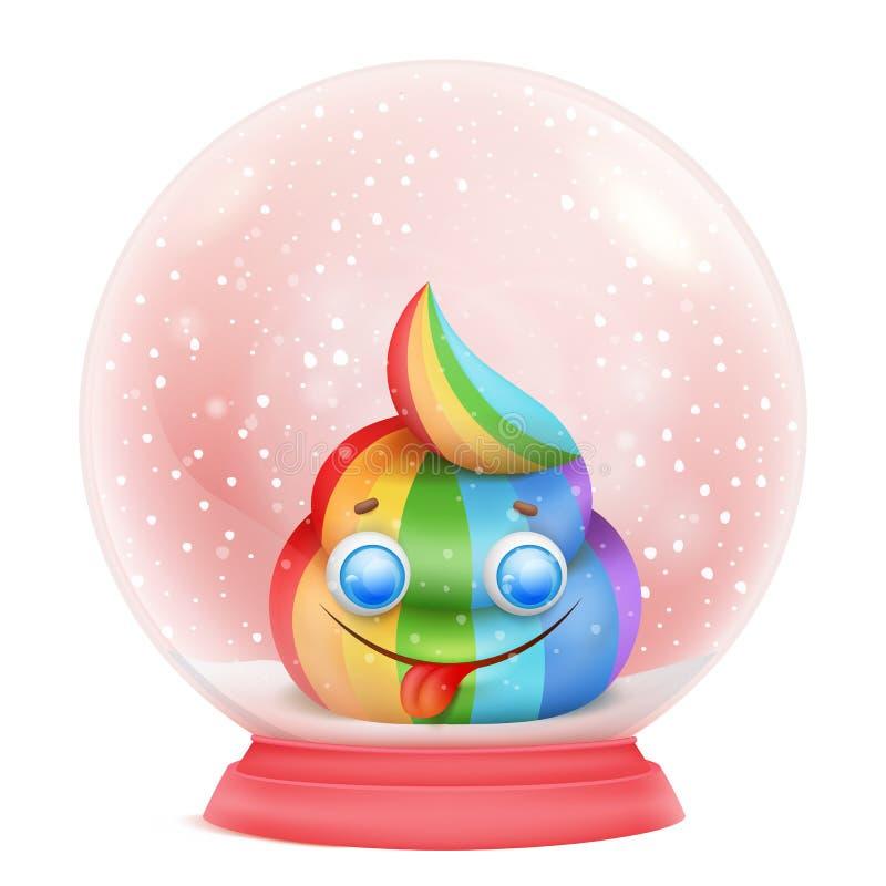 Carácter del emoji del arco iris del unicornio de la historieta en la bola de cristal de la nieve ilustración del vector
