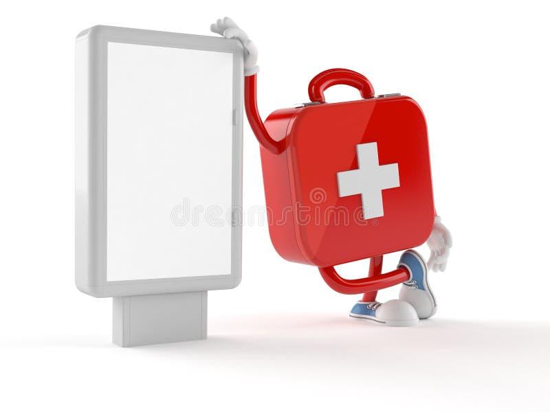 Carácter del equipo de primeros auxilios con la cartelera en blanco stock de ilustración