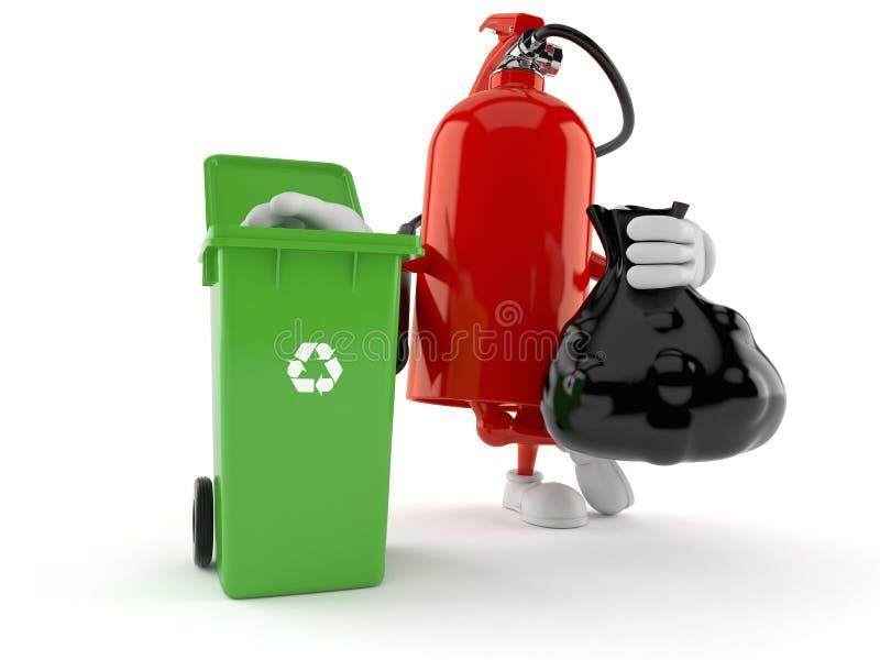 Carácter del extintor con el bote de basura y el bolso stock de ilustración