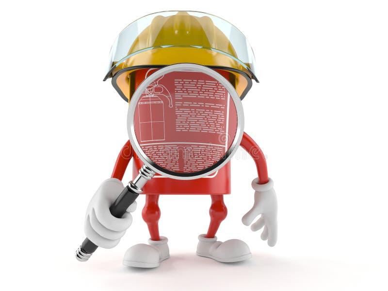 Carácter del extintor que mira a través de la lupa stock de ilustración