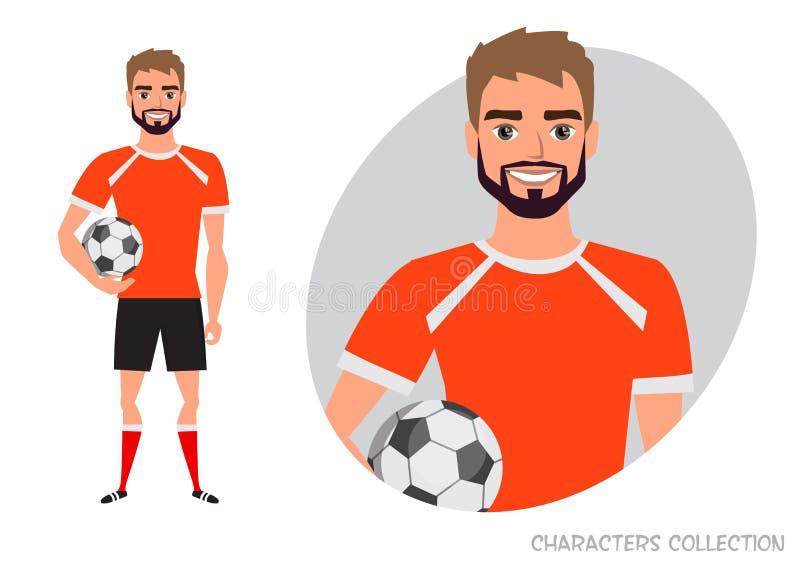 Carácter del fútbol Jugador de fútbol con la bola libre illustration