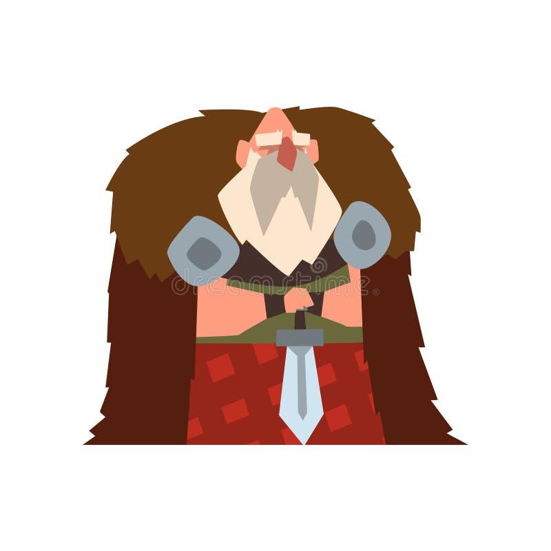 Carácter del guerrero de Viking en el cabo de la piel animal que celebra el ejemplo del vector de la espada en un fondo blanco libre illustration