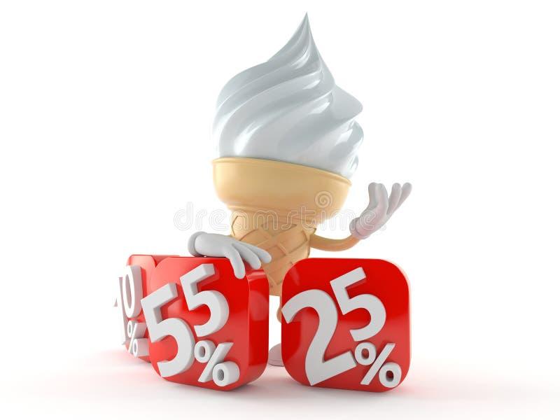 Carácter del helado con números del por ciento stock de ilustración