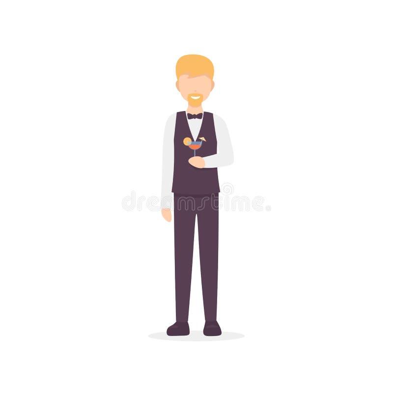 Carácter del hombre del camarero aislado en el fondo blanco libre illustration
