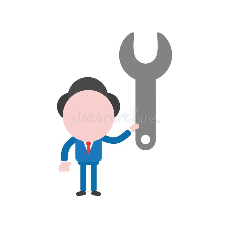 Carácter del hombre de negocios del ejemplo del vector que detiene a la llave inglesa libre illustration