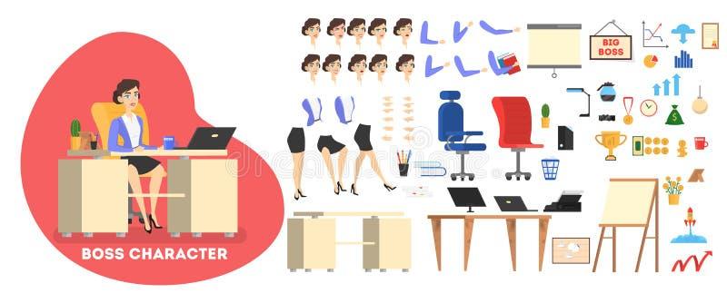 Carácter del hombre de negocios en el sistema del traje para la animación stock de ilustración