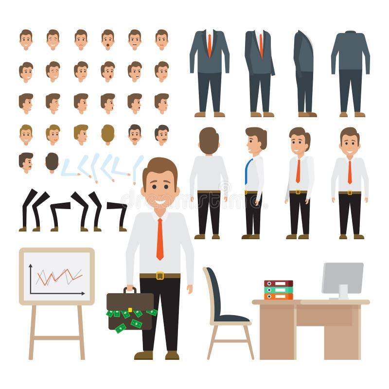 Carácter del hombre de negocios para el sistema de la animación stock de ilustración