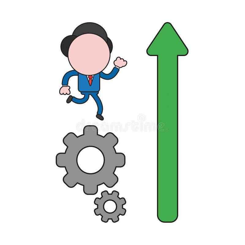 Carácter del hombre de negocios del vector que corre en los engranajes y flecha para arriba Color y esquemas negros stock de ilustración
