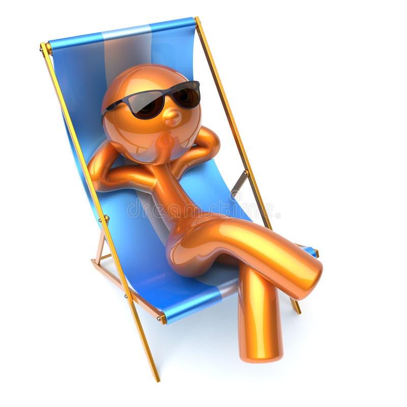 Carácter del hombre que relaja las gafas de sol despreocupadas de la silla de cubierta de la playa ilustración del vector