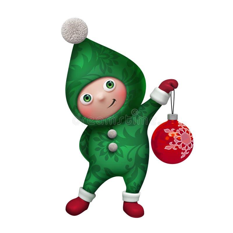 carácter del juguete del duende de la Navidad 3d aislado en blanco stock de ilustración